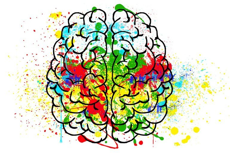 This shows a brain covered in paint splats