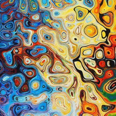 This shows abstract art with lots of bright colors and swirls