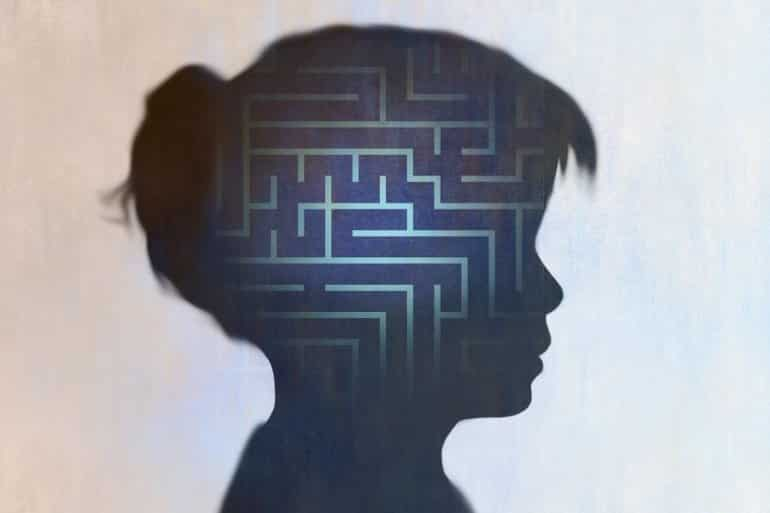 This shows the outline of a girl's head and a maze