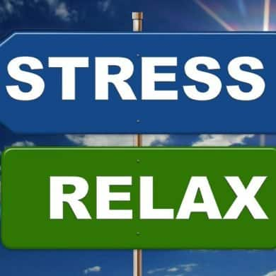 This shows two signs pointing in different directions. One says stress and other other reads relax