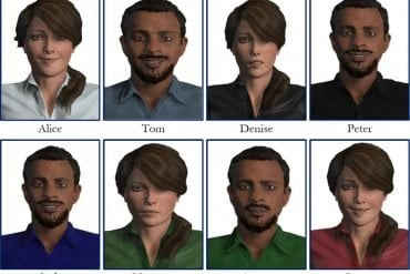This shows 8 different virtual men and women