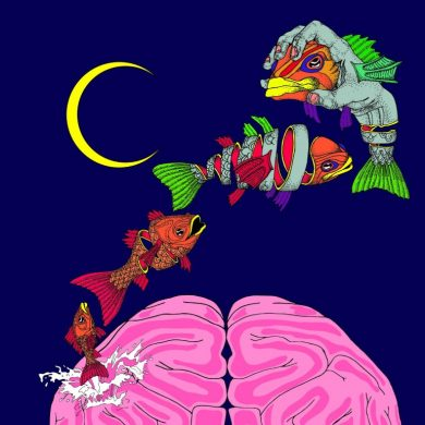 This is a cartoon of a brain and fish leaping over it