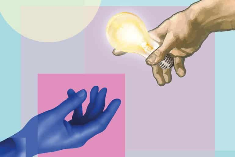 This shows a human hand handing over a lightbulb to a blue hand