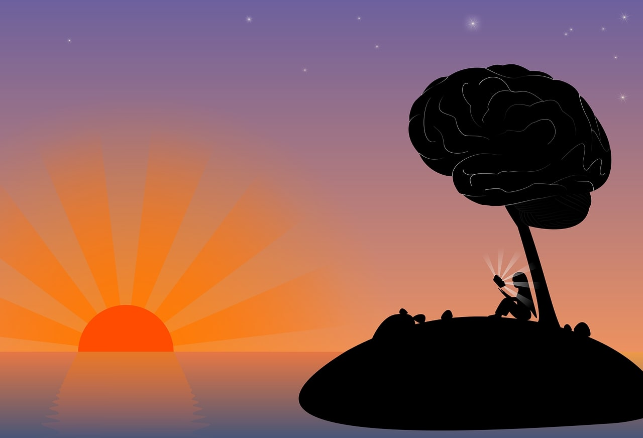 This is a cartoon of a woman sitting under a tree. The tree is topped with a brain