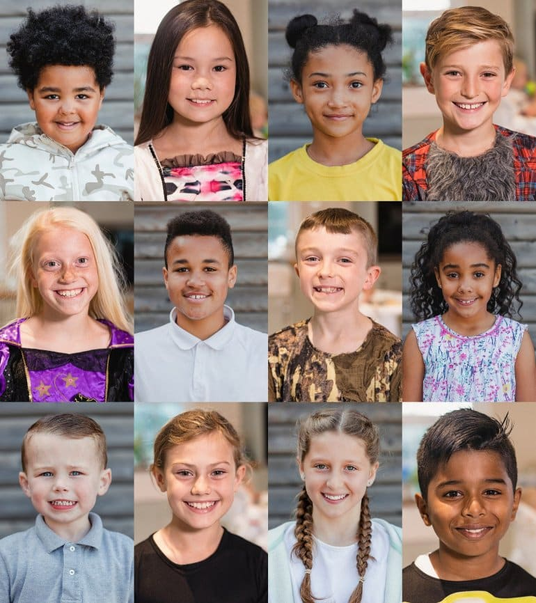 This shows the faces of children smiling