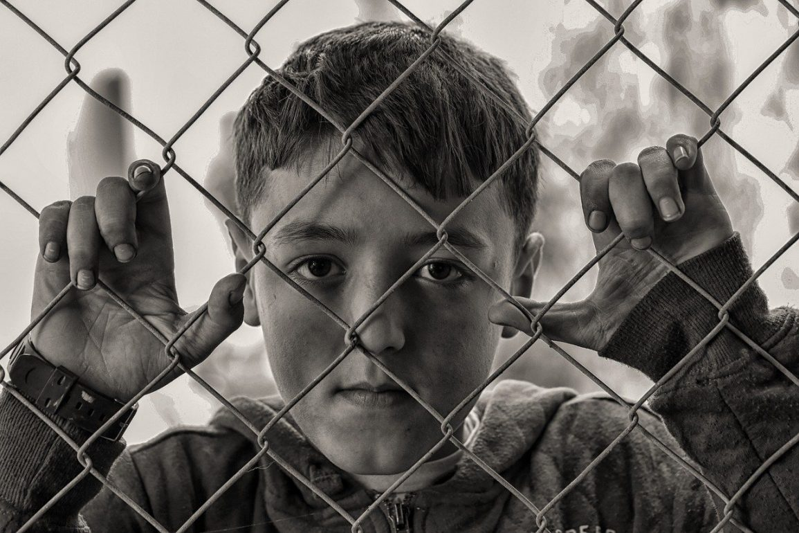 This shows a little boy looking through a fence