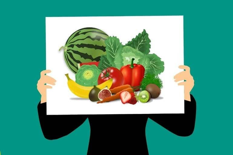 This is a cartoon of a person holding up a poster of fruit and veg