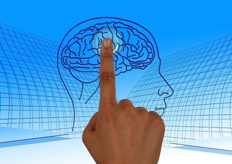 This shows a picture of a brain with someone's finger on it