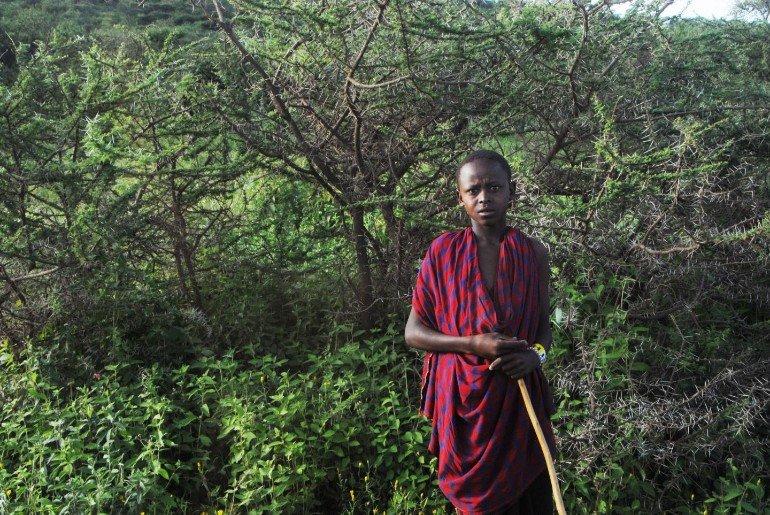 This shows a young Masai boy