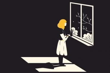 This shows a sad looking woman standing at a window