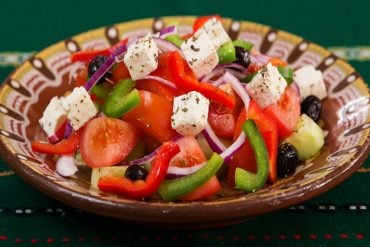 This shows a mediterranean style salad