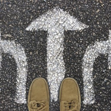 This shows three arrows pointing in different directions and men's shoes