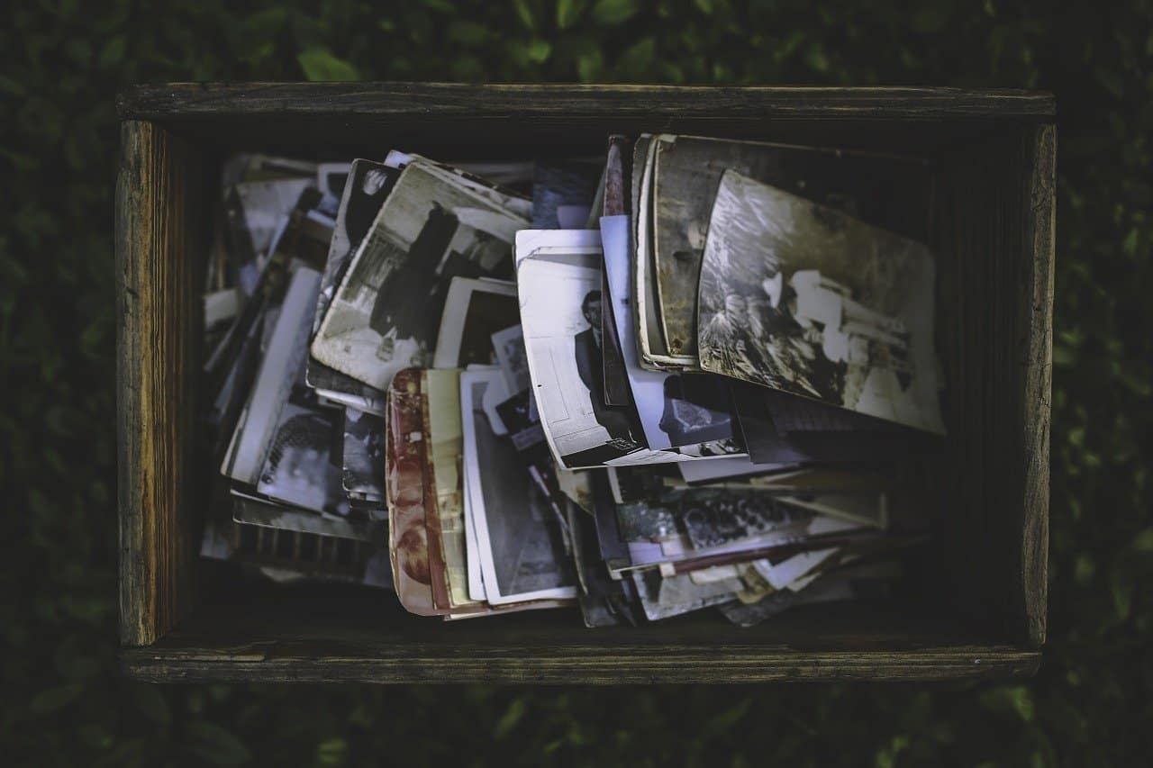 This shows old photos in a box