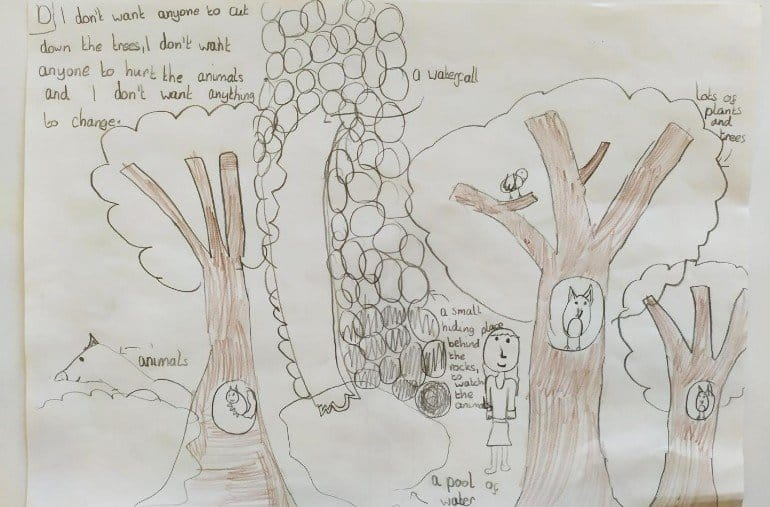 This shows a child's drawing of trees and animals
