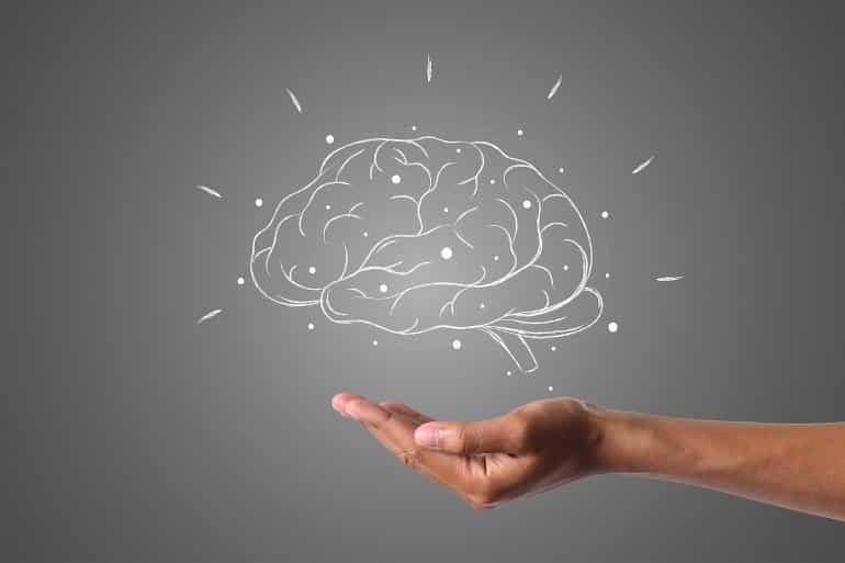 Esto muestra un cerebro y una mano.