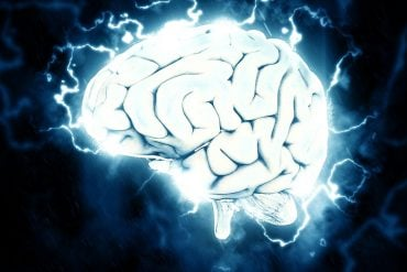 This shows a brain surrounded by lightening