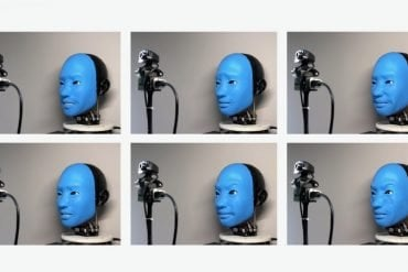 This shows a blue faced robot giving different expressions from happy to mad