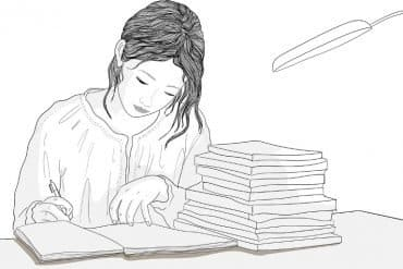 This is a drawing of a woman studying at a desk with books