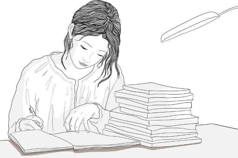 Il s'agit d'un dessin d'une femme qui étudie à un bureau avec des livres