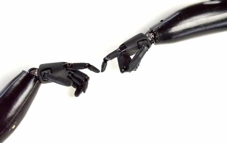This shows two robotic arms