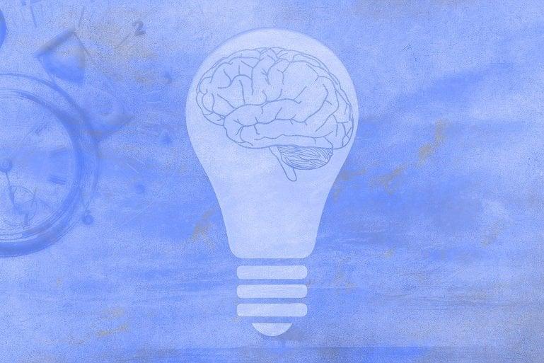 This shows a brain in a lightbulb