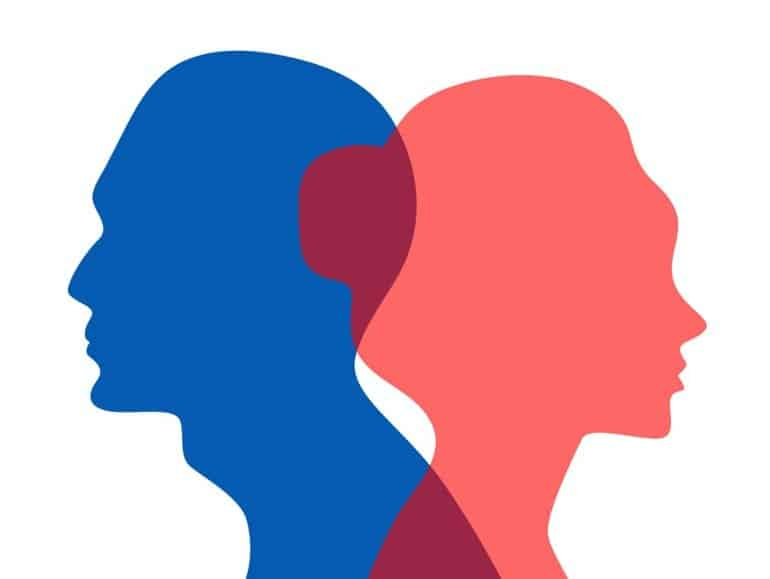 This shows the outline of a man and a woman's heads
