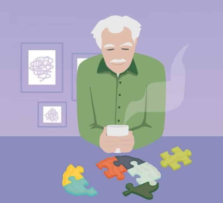 This is a cartoon of an older man looking at a brain jigsaw