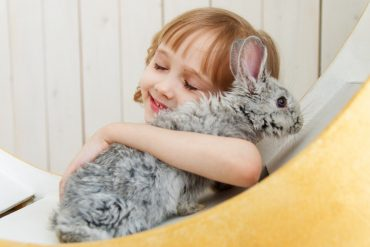 This shows a little girl snuggling her bunny