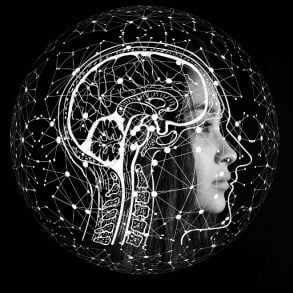 This shows a woman's head overlayed with a computerized brain image