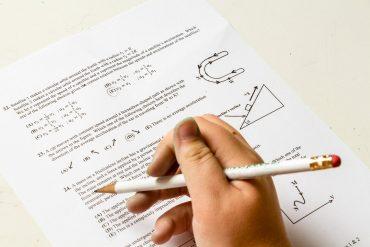 This shows a math test paper
