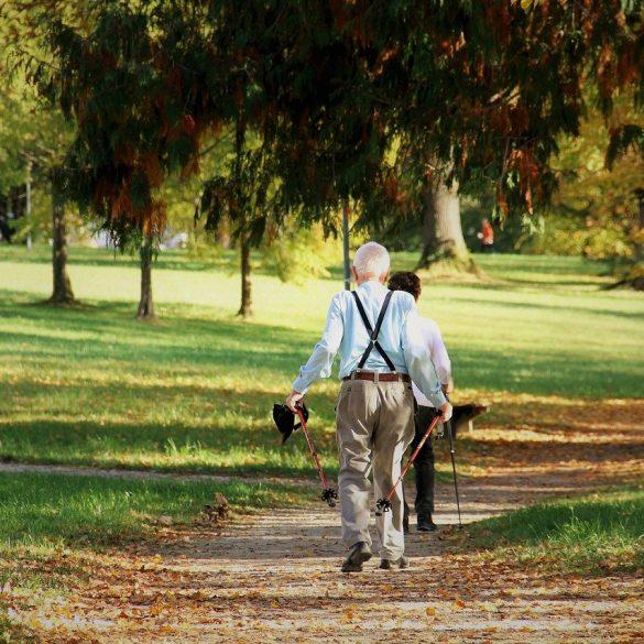 This shows an older man walking