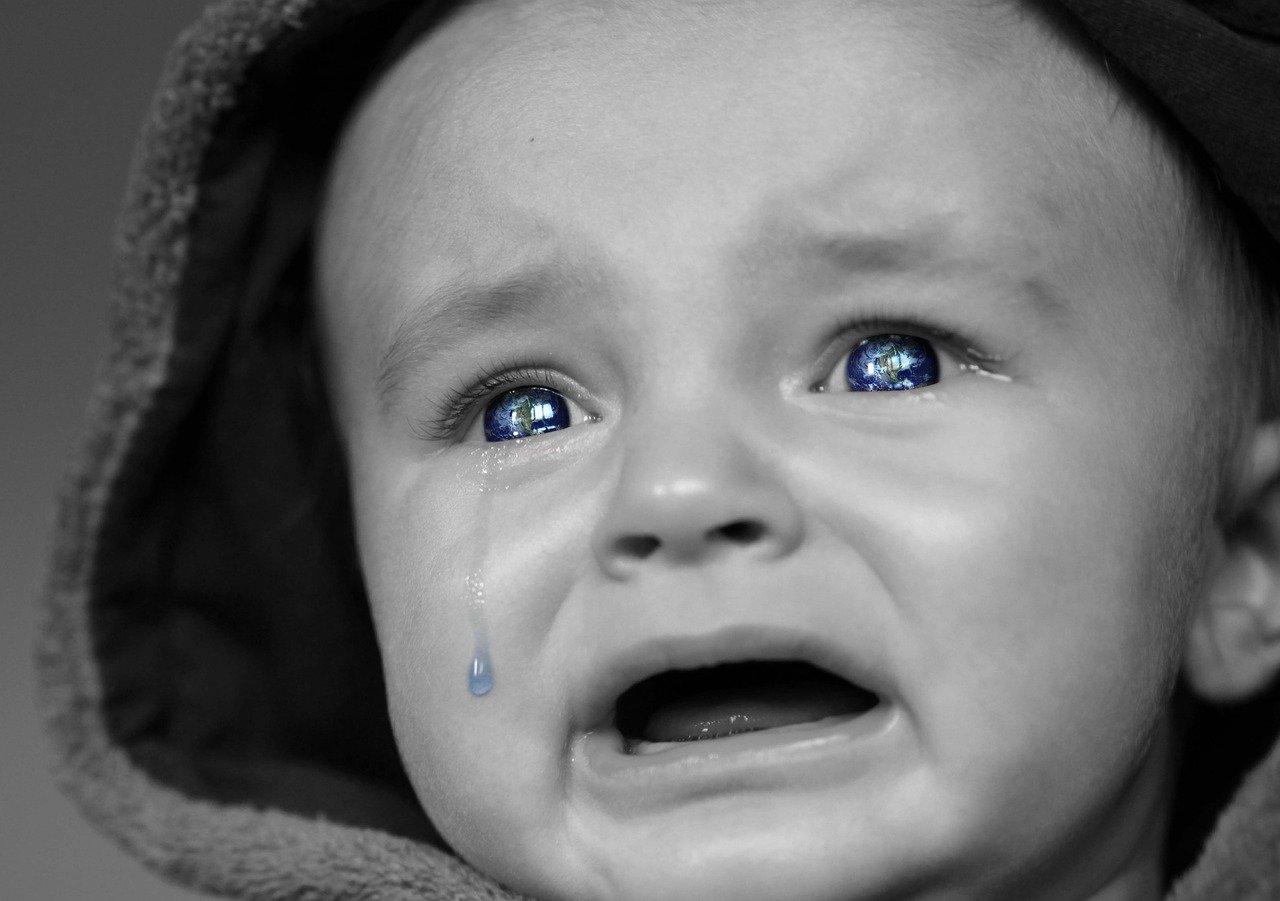 This shows a crying baby