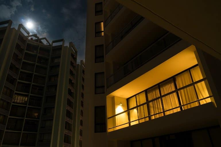 This shows an apartment light on at night