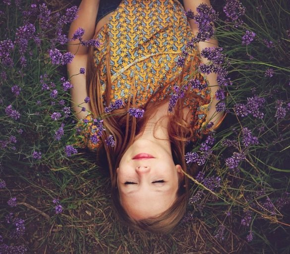 This shows a woman sleeping in a lavender field