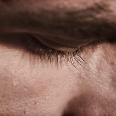 This shows a man's eyes