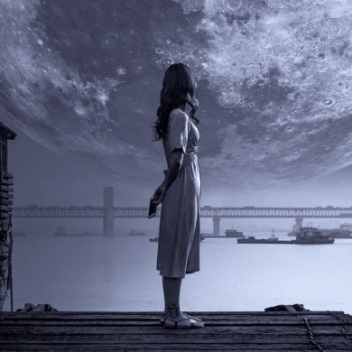 This shows a girl standing on a dock at night looking at an oversized moon