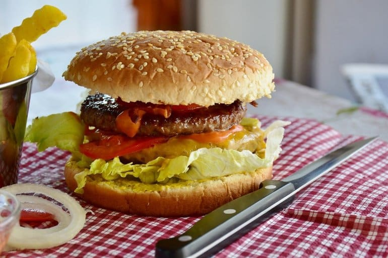 This shows a burger