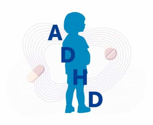 This shows an outline of a child and ADHD