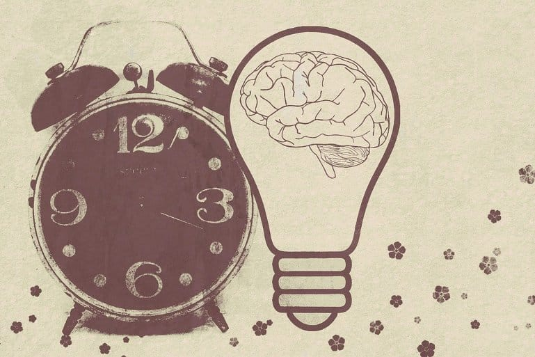 This shows a brain in a lightbulb and an alarm clock