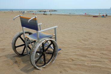 This shows a wheelchair on a beach
