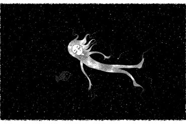 This is a cartoon of a sleeping woman floating in space