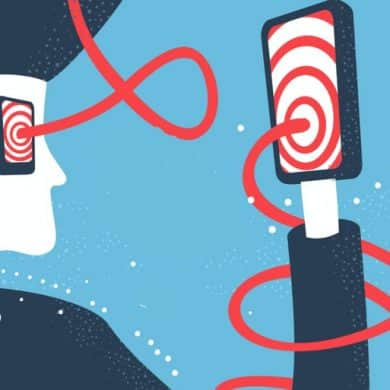 This is a cartoon of a woman looking at a cellphone covered in swirly lines