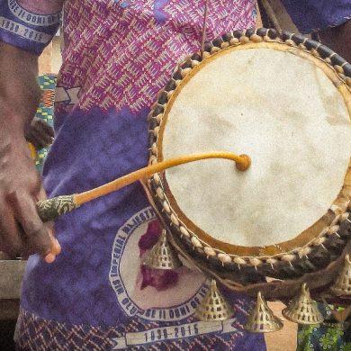 This shows a Dùndún drum