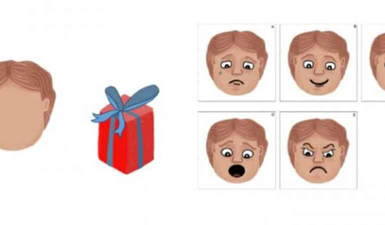 This is a cartoon of a gift and a child displaying different facial expressions
