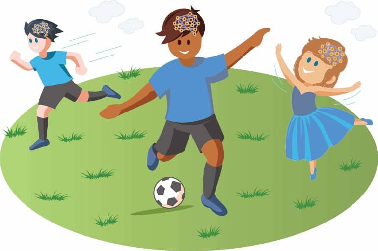 This is a cartoon of children enjoying sports and ballet