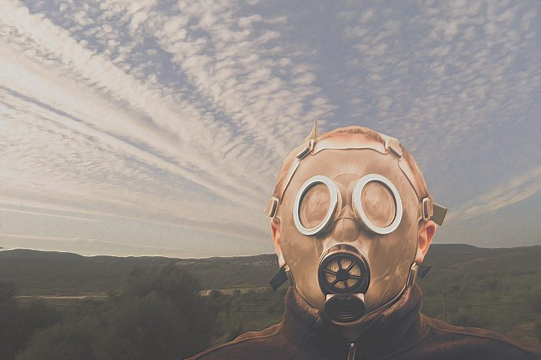 This shows a person in a gas mask