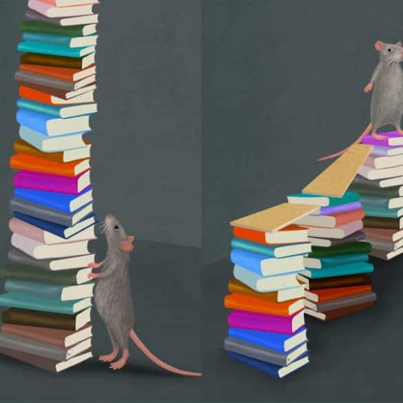 This is a cartoon of a mouse on a stack of books