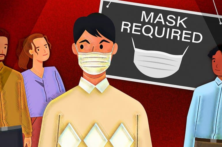 This is a cartoon of a man in a facemask