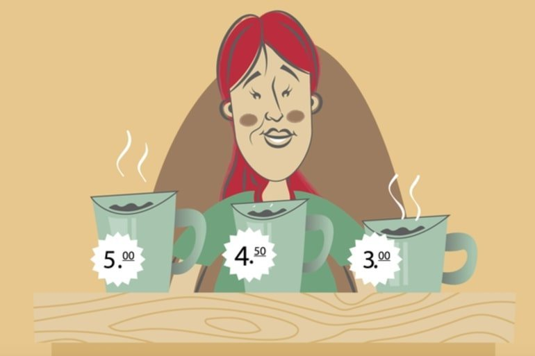 This is a cartoon of woman with three cups of different priced coffee