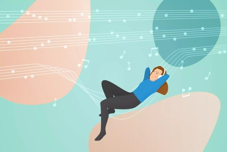 This is a cartoon of a woman listening to music